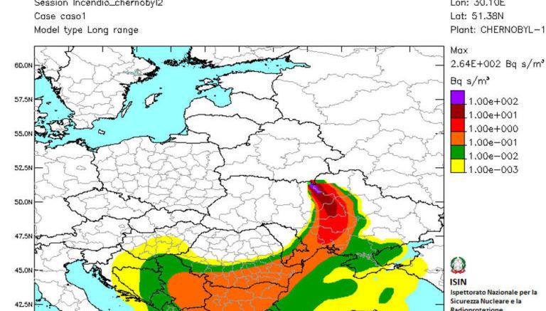 Le stime della distribuzione della concentrazione integrata in aria per i giorni dal 4 al 6 aprile 2020